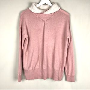 100% Cashmere Extremely Soft Pink & Cream Sweater